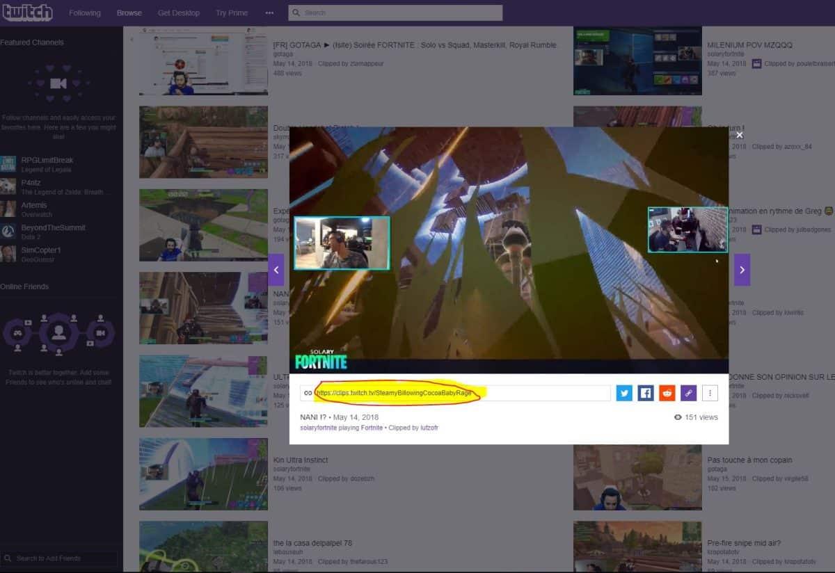 copier le lien de la video Twitch